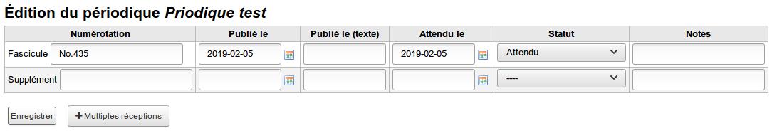 formulaire de bulletinage, colonne: numérotation, publié le (date), publié le (texte), attendu le (date de publication), statut (atendu / reçu), notes.