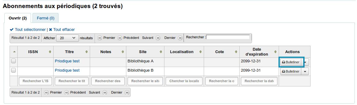 page de résultats de recherche d'Abonnement > onglet ouvert. Cliquer sur le bouton «Action» pour bulletiner