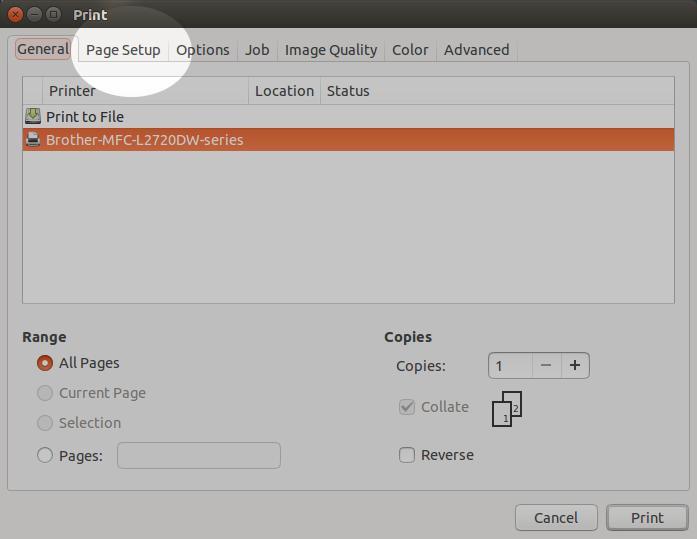 Dans la fenêtre paramètres d'impression, deuxième onglet «page setup»