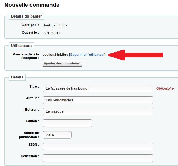 liste de noms d'utilisateurs dans le formulaire de commande