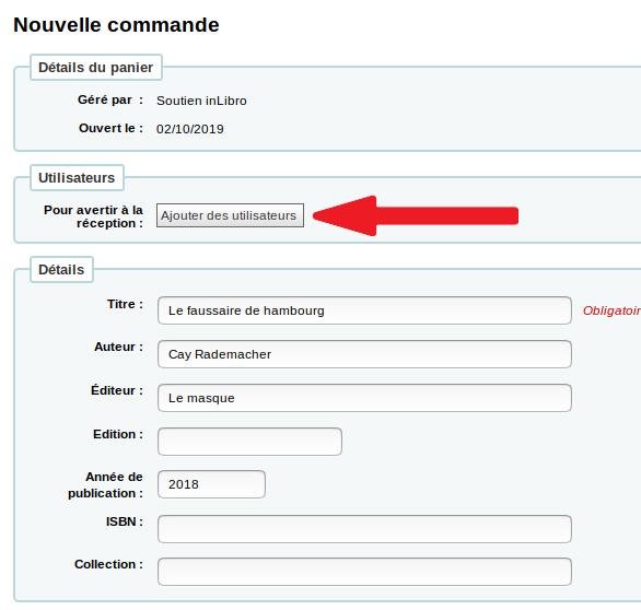 bouton «Ajouter des utilisateurs» dans le formulaire de commande