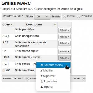 Capture d'écran montrant la localisation de l'option Structure MARC