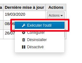 bouton action, sélection «Exécuter l'outil»
