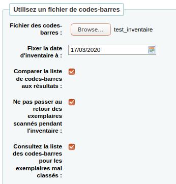 section «Utilisez un fichier de codes-barres» du formulaire d'inventaire