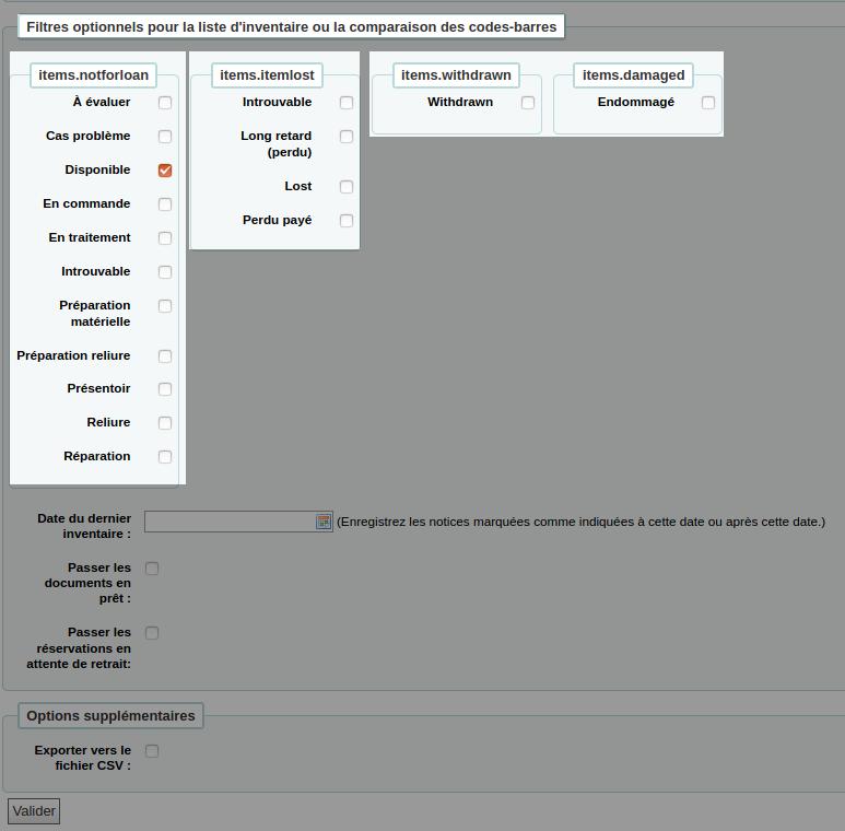 section «Filtres optionnels ... » du formulaire d'inventaire