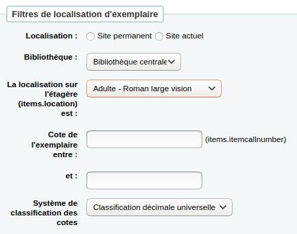 section «Filtres de localisation d'exemplaire» du formulaire d'inventaire