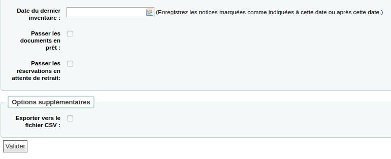 section «Date du dernier inventaire» du formulaire de l'outil inventaire