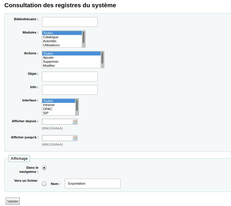 formulaire de recherche de registres des modifications