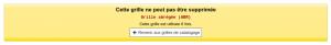 Message d'erreur Cette grille ne peut pas être supprimée Cette grille est utilisée 6 fois