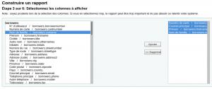 Capture d'écran montant l'étape 3 avec les choix borrowers.cardnumber, borrowers.email, borrowers.firsname, borrowers.surname