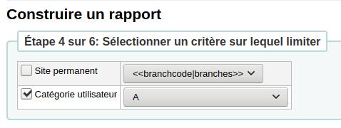 Capture d'écran de l'étape 4 avec une limite par catégorie d'utilisateur