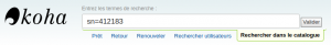 Capture d'écran de la barre de recherche contenant sn=412183
