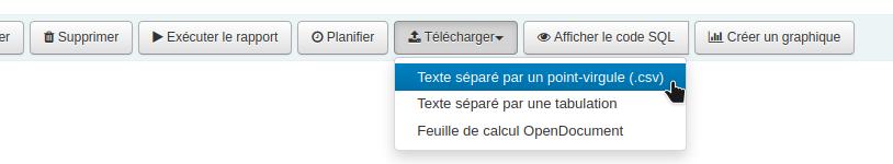 Curseur sur l'option Texte séparé par ces points-virgules (csv)