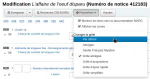 Capture d'écran montrant la localisation du bouton Paramètres et le choix de la grille de catalogage Par défaut