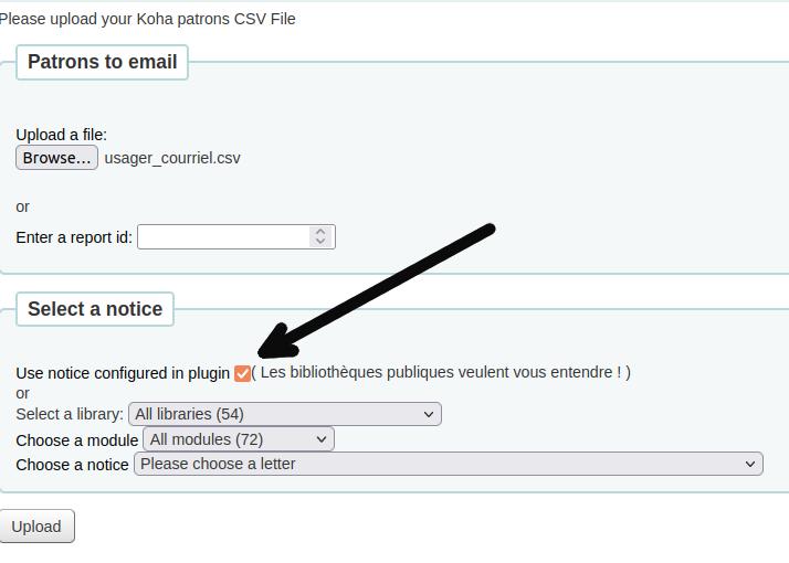 case «use notice from plugin» dans le formulaire d'envoi du Patron Emailer