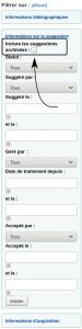 Capture d'écran indiquant l'emplacement de l'option de chercher parmi les suggestions archivées