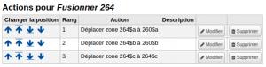 Capture d'écran du modèle avec les actions pour 264a, b et c