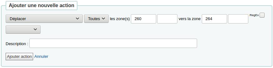Déplacer la zone 260 vers la zone 264