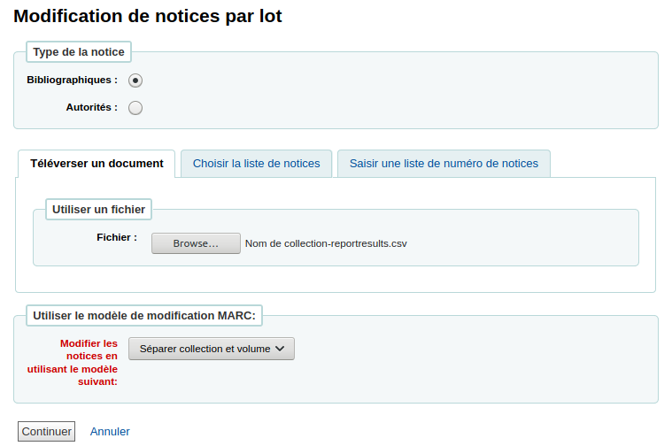 Modification de notices par lot