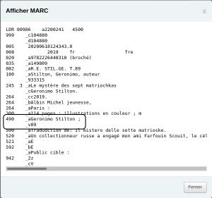 Capture d'écran de la prévisualisation MARC avec la zone 490 bien séparée