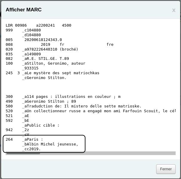 Capture d'écran de la prévisualisation MARC avec la zone 264 fusionnée