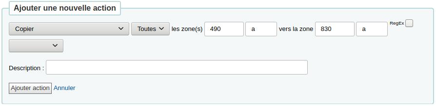 Copier toutes les zones 490 a vers 830 a