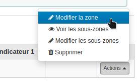 Capture d'écran montrant l'option Modifier la zone