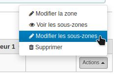 Capture d'écran montrant l'option Modifier les sous-zones