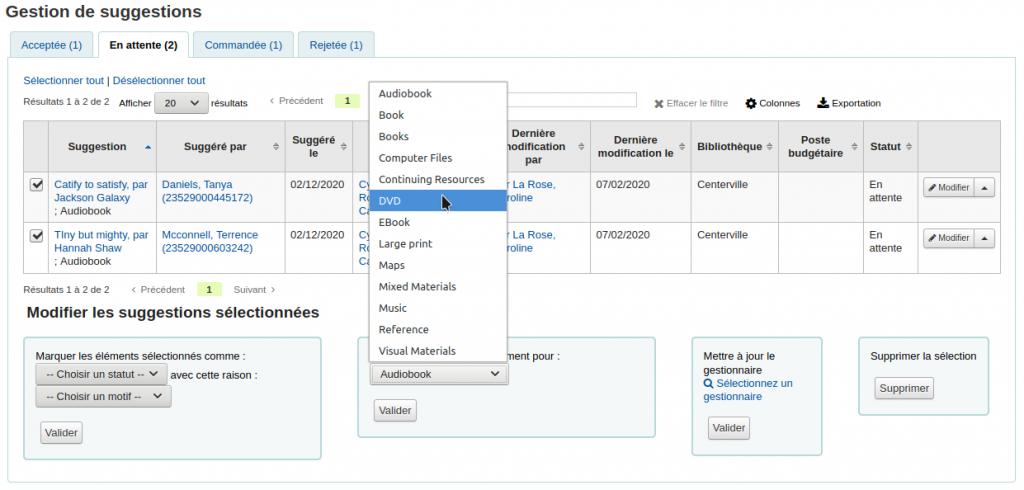 Capture d'écran du menu déroulent Mettre à jour le type de document pour