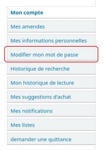 """Onglets des options du dossier de l'utilisateur, avec l'onglet """"Modifier mon mot de passe"""" entouré"""