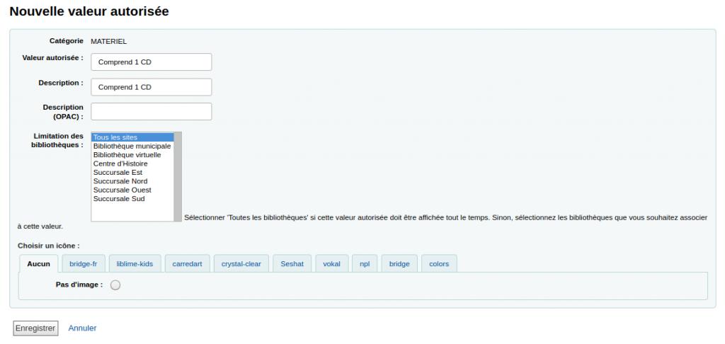 Formulaire d'ajout de nouvelle valeur autorisée avec le texte Comprend 1 CD dans les champs Valeur autorisée et Description