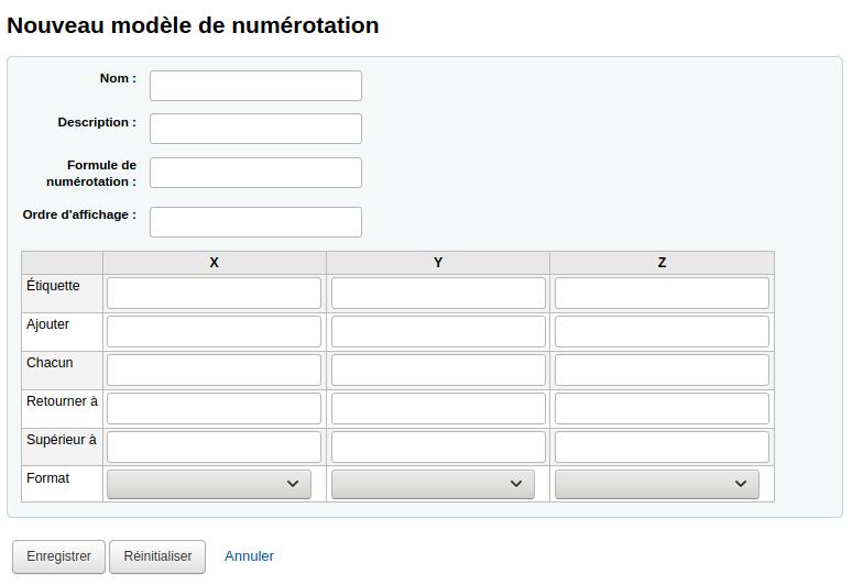 Formulaire d'ajout de modèle de numérotation