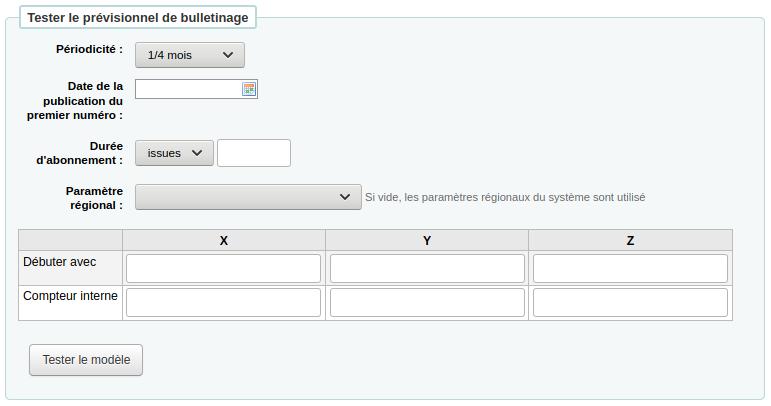 Formulaire pour tester le prévisionnel de bulletinage