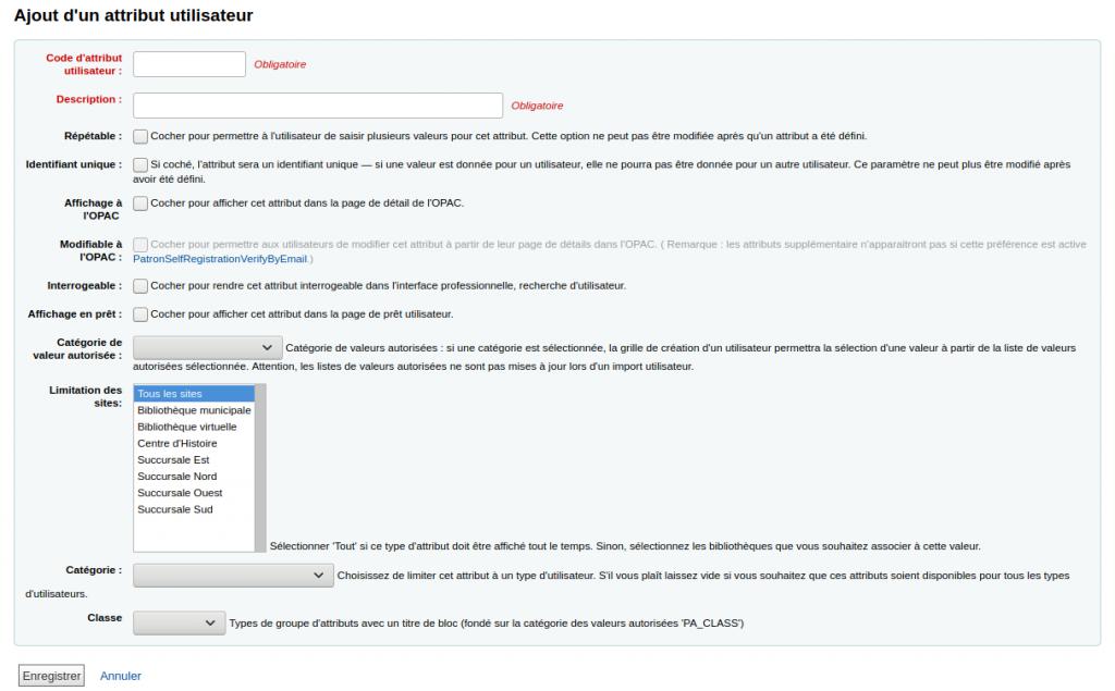 Formulaire d'ajout d'attribut utilisateur