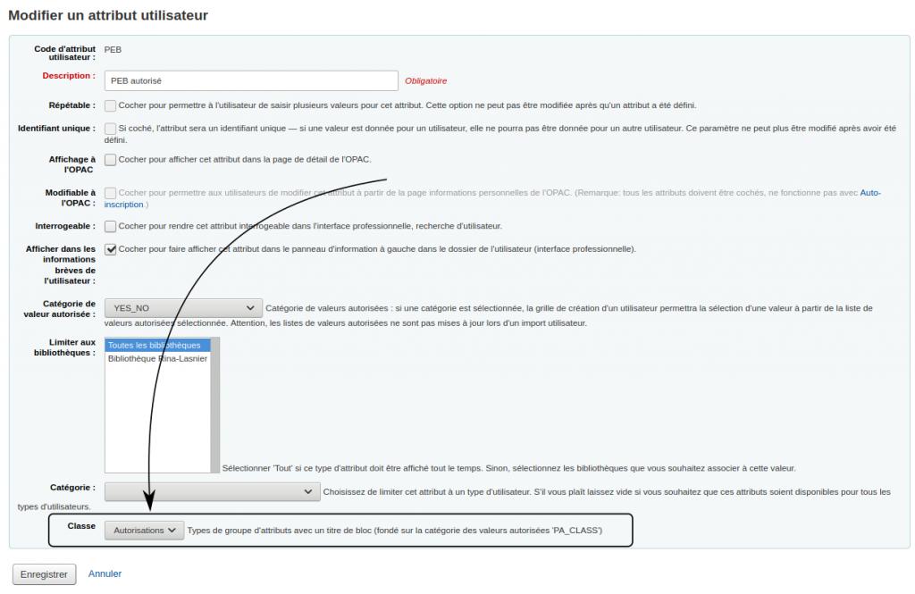 Flèche pointant le menu déroulant Classe dans le formulaire de modification d'attribut utilisateur