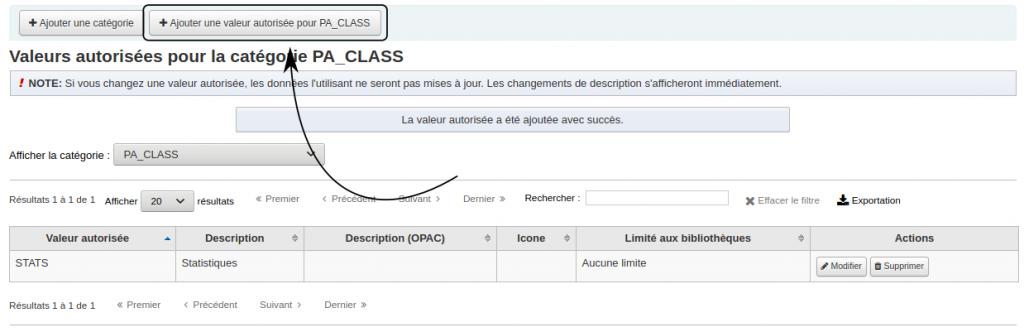 Flèche pointant le bouton Ajouter une valeur autorisée pour PA_CLASS