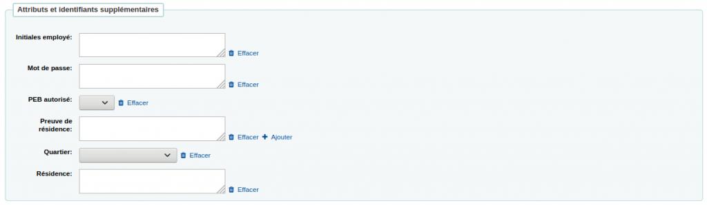Section Attributs et identifiants supplémentaires dans le formulaire d'ajout d'un utilisaeur avec six attributs différents