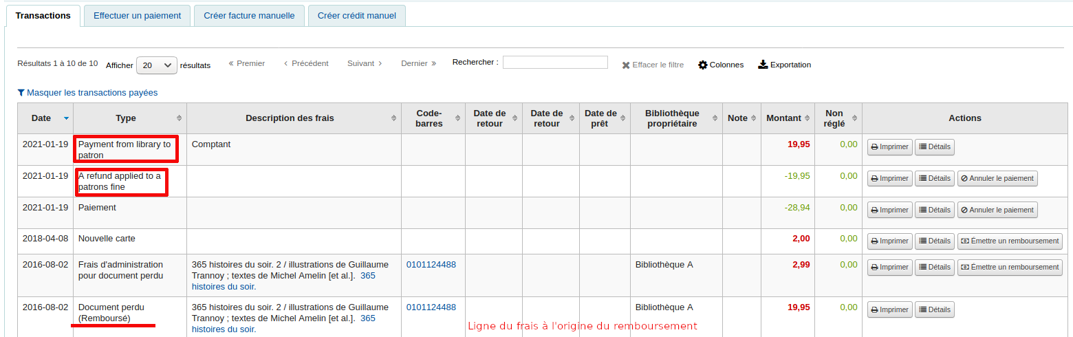 Présence de notes dans la colonne «Types» de la page Dossier de l'Usager > Finances > Transactions.