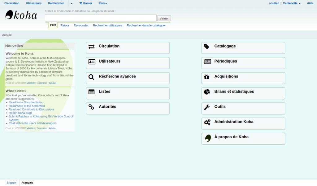 Page principale de l'interface professionnelle avec un fond de couleur différente (couleur unie)