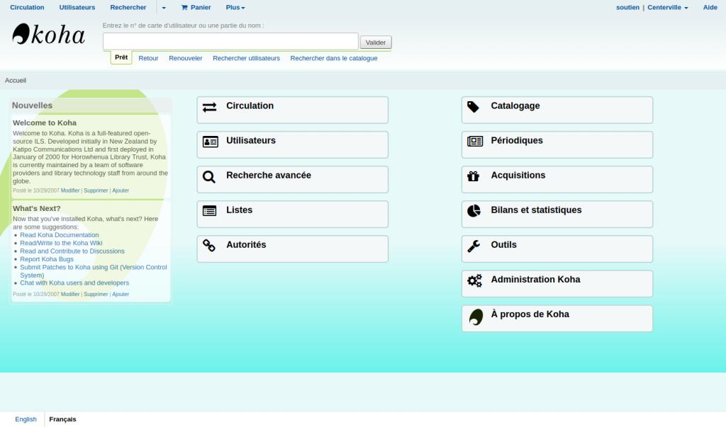 Page principale de l'interface professionnelle avec un fond de couleur différente (dégradé de couleurs)