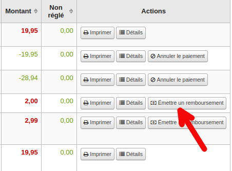 Onglet Transaction. image de la colonne action, présence de bouton «Émettre un remboursement» sur une ligne de transaction
