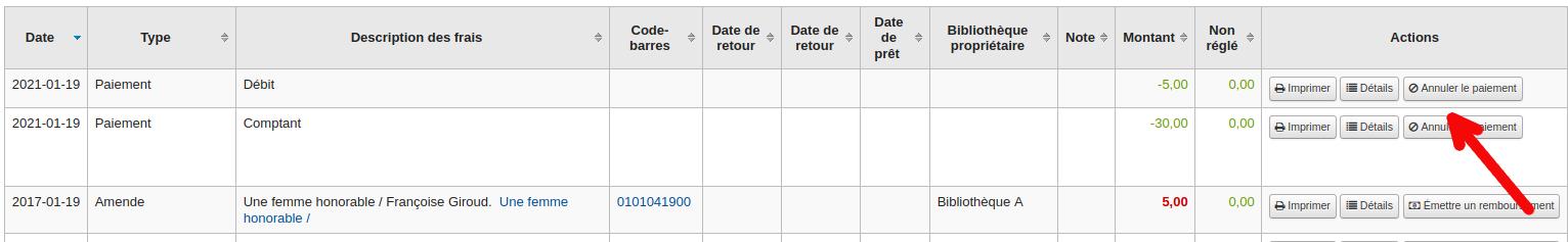bouton »Annuler le paiement» dans l'onglet Transactions