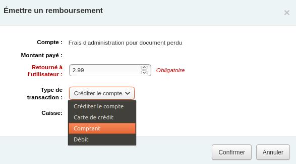 présence de menu déroulant dans le paramètre «Type de transaction» dans la fenêtre de remboursement