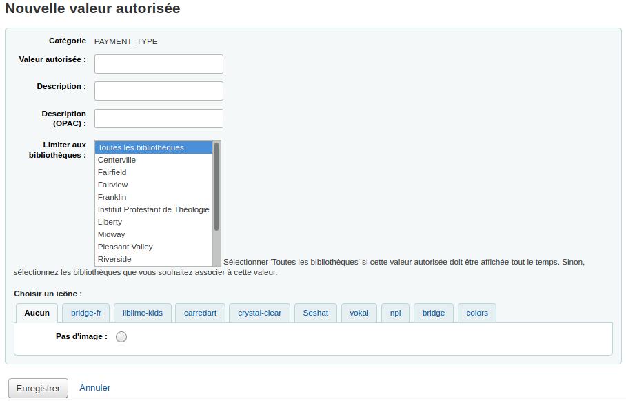 Formulaire d'ajout de valeur autorisée pour PAYMENT_TYPE