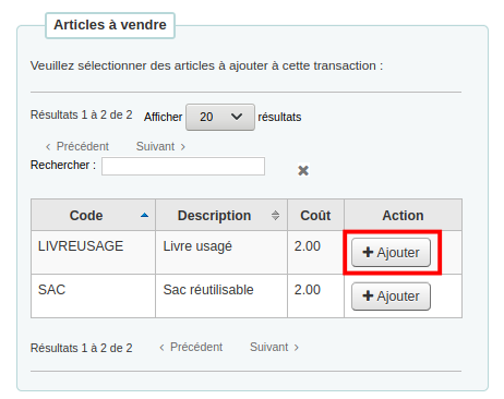 Formulaire Articles à vendre, le bouton Ajouter à côté de Livre usagé est mis en évidence
