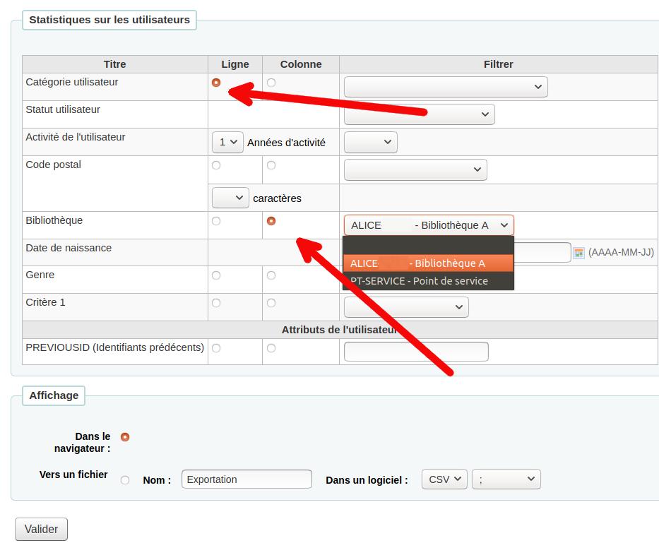 formulaire de l'«Assistant statistique - Utilisateurs» (rapport pré-programmé)