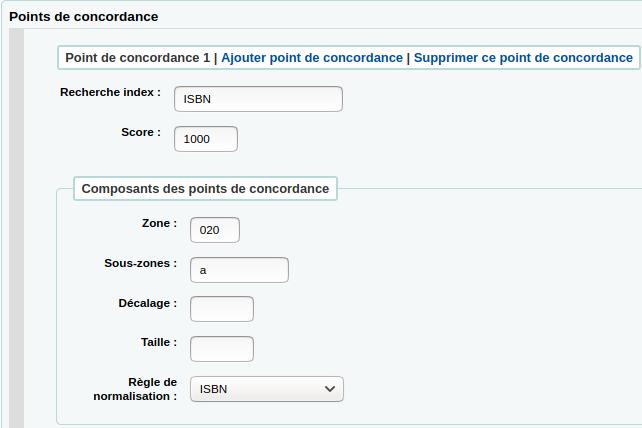 section points de concordance du formulaire