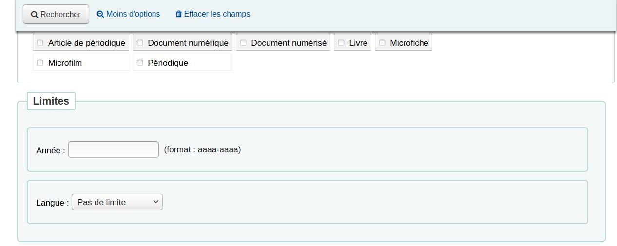 section «Limites» qui apparaît sous la section «Types de document»
