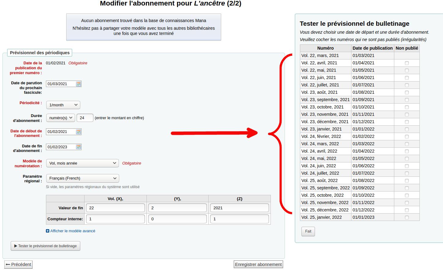 après le test, koha affiche une liste de numéros d'exemplaire (à droite)