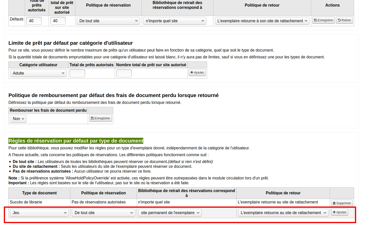 ajout de règle dans la section «Règles de réservations par défaut par type de document